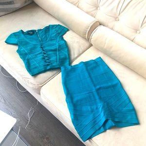BEBE Aqua Blue Cropped Top + Pencil Skirt